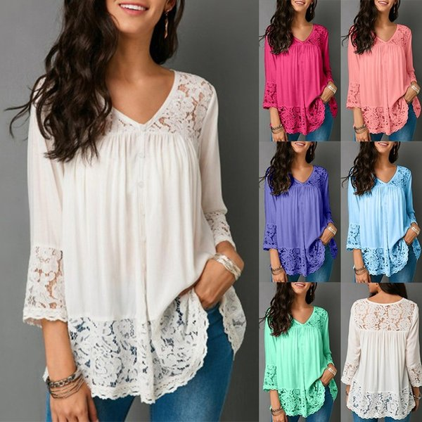 a0ae698844116a Womens Long Sleeve Splice Shirt Women Button Tunic Top Casual Loose  Patchwork Lace Blouse Shirt Pullover