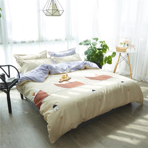 Juegos de cama de dibujos animados ardilla paern niños suave funda nórdica conjunto cubierta de edredón cama conjunto solo rey reina ropa de cama doble 4 unids