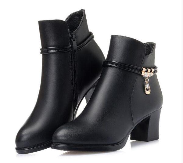 Acheter Couche De Tête Vachette Hiver Chaussures Femmes Bottines 2018 Automne Véritable Bottes De Cuir Femmes Chaussures Mode Martin Bottes Chaussures