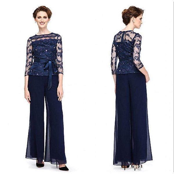 2018 New Arrival Elegant Navy Blue Mother Of The Bride Pants Suits Applique Pant Suits Sequined Plus Size With Sheer Jewel Neck BA5297