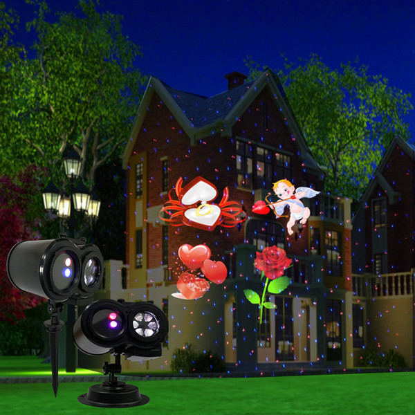 80% Discount 7W LED Pattern Laser Light IP44 7V Garden Festival Christmas Lighting Decoration 60/300 Square Meters Free Shipping