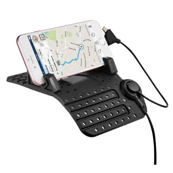 NOUVEAU support de téléphone de voiture tableaux de bord pad en silicone pour iphone x 8 plus smartphones tablettes chargeur 5v / 2a pour samsung galaxy s9 s8