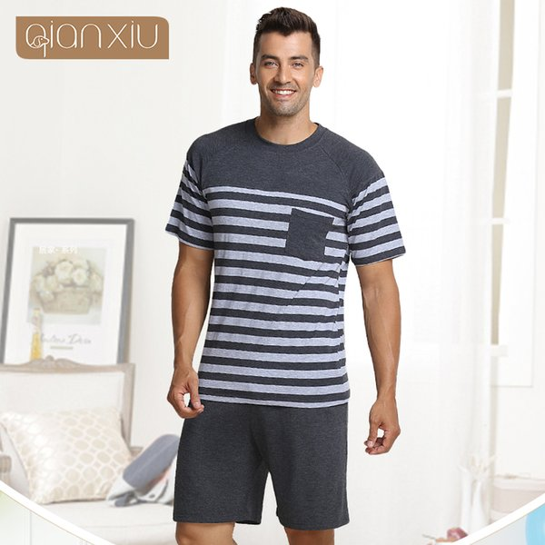 2018 New Summer Homewear Men Casual Striped Pajama sets Male Modal Cotton Sleepwear suit Couples O-neck collar t shirt & Pants