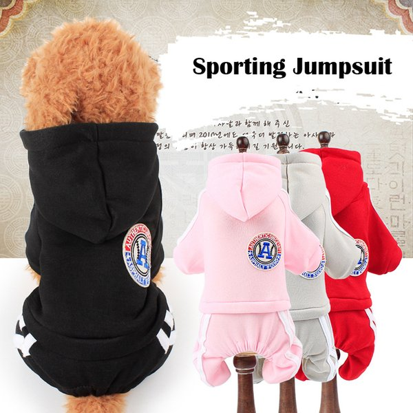 Pet sweatshirt dog sporting jumpsuits winter warm dog clothes for small medium dogs puppy hoodies coat chihuahua pug clothing