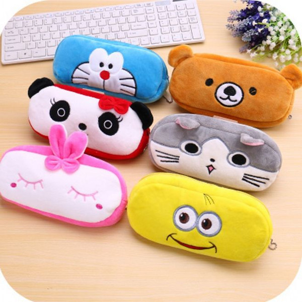 top popular Kawaii Cute Animal Soft Plush Pen Case Coin Purse Cosmetic Makeup Pouch Storage Kids Birthday Gift 2020