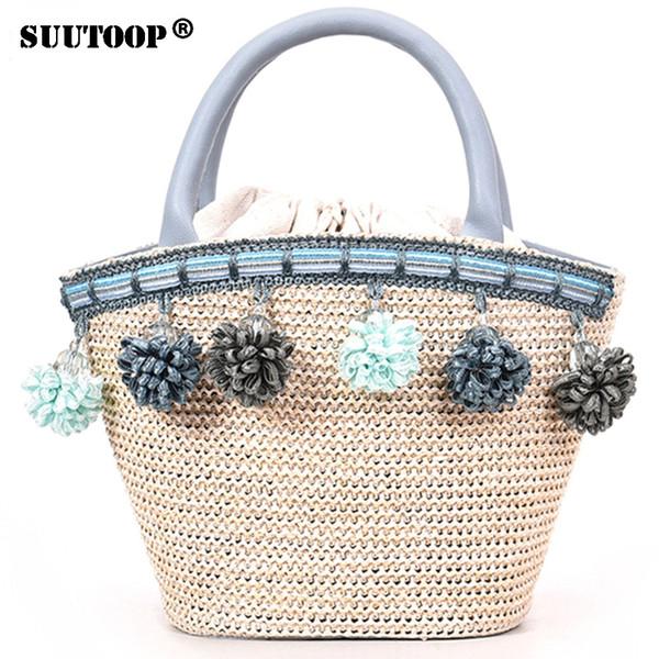 SUUTOOP 2018 Women Small Straw Bucket Handbag Tassel Messenger Shoulder Bags For Girls Ladies Vintage Summer Beach Crossbody Bag
