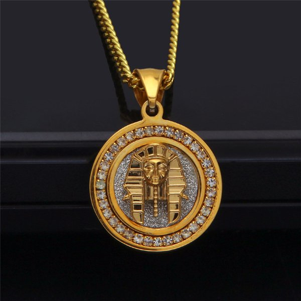 Egyptian Pharaoh Pendant Necklaces For Men Women Bling CZ Stainless Steel Jewelry Ice Out Gold Plated Hip Hop Necklace