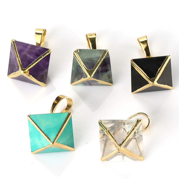 Wholesale 10 Pcs Trendy Gold Plated Square Pyramid Green Turquoise Pendant Necklace Link Chain Amethyst Jewelry