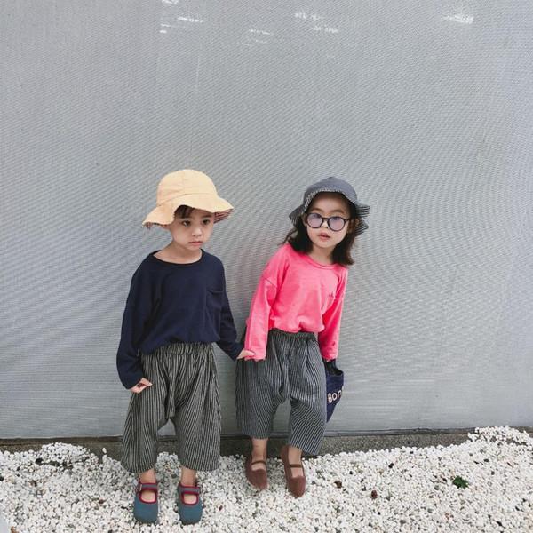 Kinder Baumwolle und Leinen Hosen Herbst Mädchen Hosen Mode Gestreiftes Breites Bein Kinder Mädchen Kleidung Jungen und Mädchen Kreuz