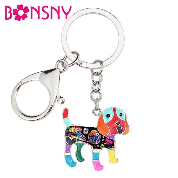 WEVENI Metal Enamel Happy Cavalier King Charles Spaniel Dog Key Chain Keychain Ring Animal Jewelry For Women Girl Bag Car Charms