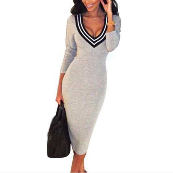 Sexy Gray/Black/Red/Blue Tight Neck V Knee Length Pencil Womens Dress Elastic Skinny Knitted Dress Vestidos 7949