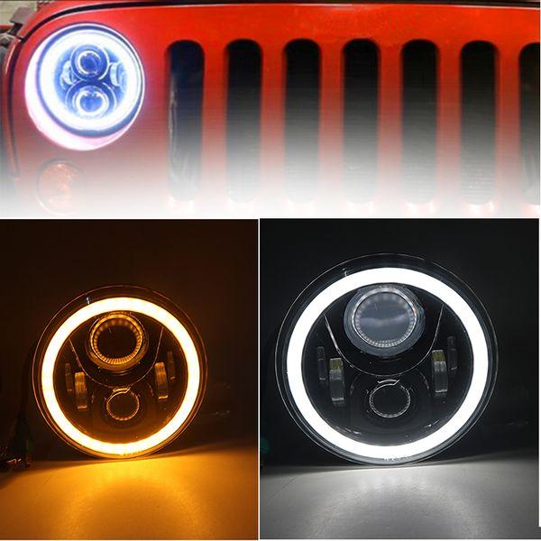 60W LED Headlight7 Inch LEDProjector Headlight Angel Eye Light For Jeep Wrangler JK TJ LJ lada 4x4 niva