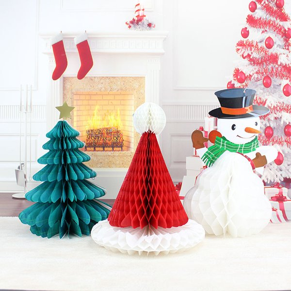 100pcs Christmas Tree Hat Snowman Paper Honeycomb Ball Party DIY Decorations Xmas Pendant Drop Ornaments Supplies ZA4895