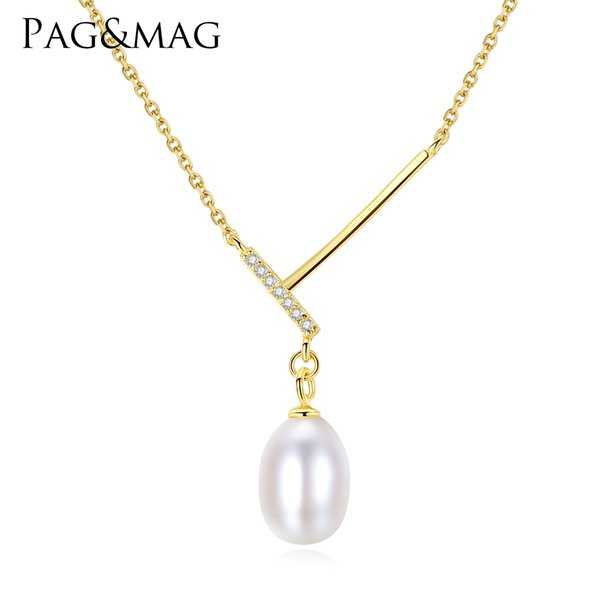 PAG&MAG Brand New Arrival Simple Design 925 Silver Chain 7-8mm Natural Freshwater Rice Pearl Pendant For Women Jewelry Gift