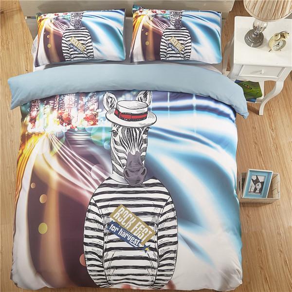 Satin Al Karikatur Zebra Baskili Cocuk Yatak Odasi Yatak Carsaflari Rahat Anti Mite Bedclothes Ingiltere Abd Kralice Gencler Shams Yatak Nevresim Set