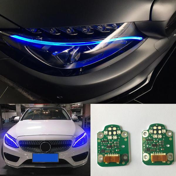 2pcs set car headlamp daytime running lights decode blue/red LED lights for Mercedes-Benz W205 C180 C200 (Blue LED light)