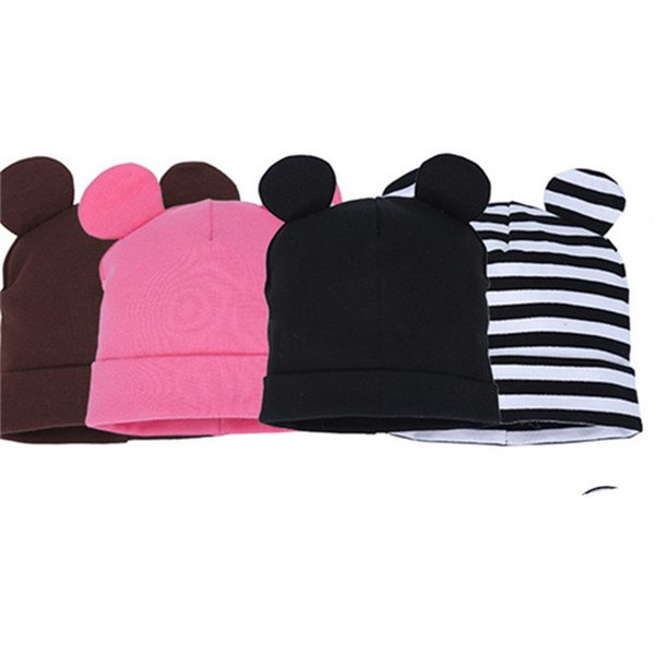 COTTON BEAR STRIP INFANT baby beanies kids boys girls head wear caps with ear kids accessories hats one size elastic
