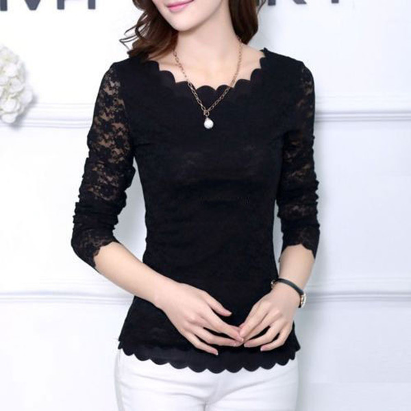 Fashion Elegant Women Ladies Newly Tops 4 Style Long Sleeve O-Neck Pullover Lace Floral Slim Tops Size S/M/L/XL