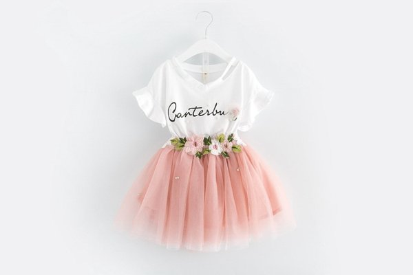 New Korean Fashion Dress Set T-shirt + Flower Skirt Princess cute mesh Two-piece set free shipping size 90-130cm