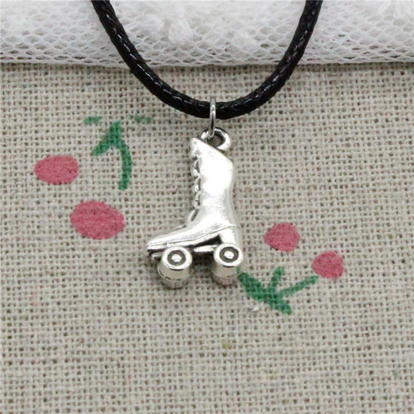 Creative Fashion Antique Silver Pendant roller skates shoes 20*11mm Necklace Choker Charm Black Leather Cord Handmade Jewlery