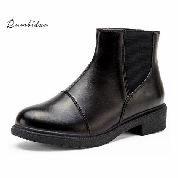 Rumbidzo Fashion Women Winter Boots Round Toe Chunky Heels Ankle Boots Woman Platform Warm Plush Square Toe Bootie