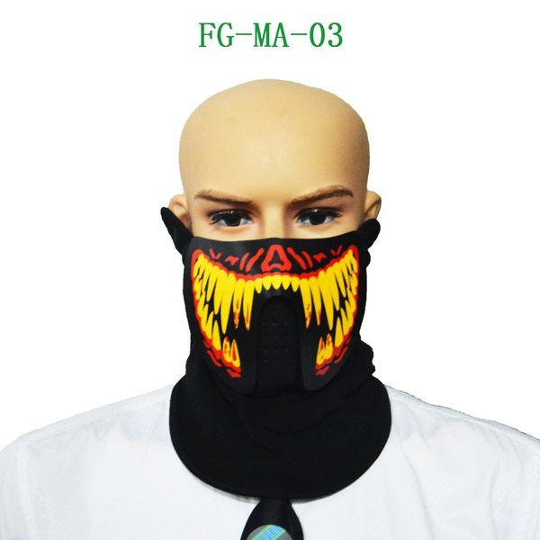 Halloween Sound Reactive Full Face LED Light Up Mask Dance Rave EDM Plur Party A