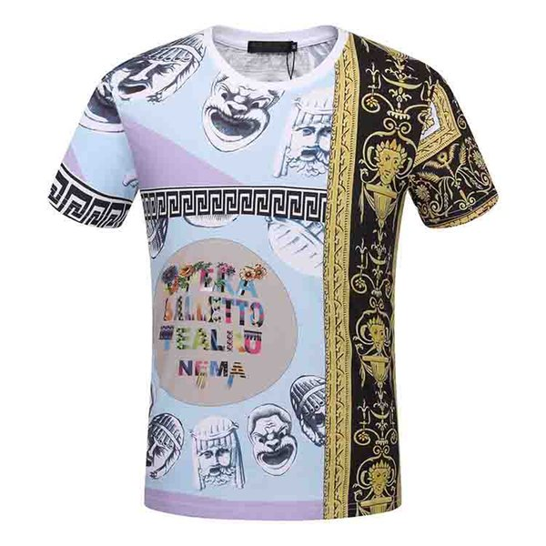 2018 Summer Streetwear Fan Made Fashion Men T shirt High Quality Exaggerated pattern Broken Cotton Tee Gold color Brand Tshirt