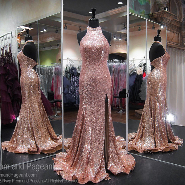 Rose Gold Sequins Split Prom Dresses 2018 Open Back Real Image Sexy Mermaid Evening Wear Pageant Party Gowns