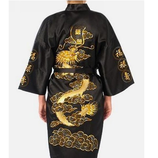 New Black Chinese Men's Satin Silk Bathrobe Embroidery Nightwear Vintage Kimono Gown Free Shipping Size S M L XL XXL XXXL ZR02