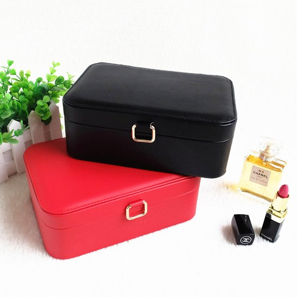 Women's Travel Leather Jewelry Storage Box Makeup Case Cosmetic Organizer Container Exquisite Ring Necklace Packaging Casket