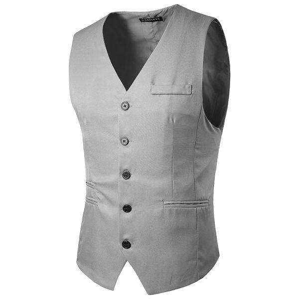 2017 slim fit moda coreana Mejores hombres caballero traje chaleco novio esmoquin prom chaleco Vestidos de novia rojo blanco caqui gris