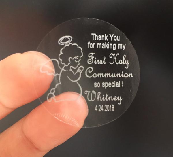 90 personalizado texto personalizado 1o primeiro comunhão santamente obrigado adesivos com lembranças de Anjo presentes favores etiquetas tags