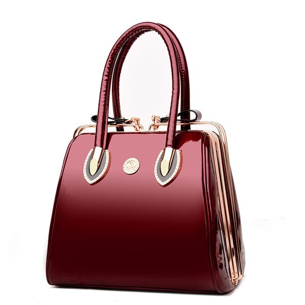 Womens Patent Handbags Tote Shoulder Designer Ladies 2 in 1 Bag Front Bow Purse