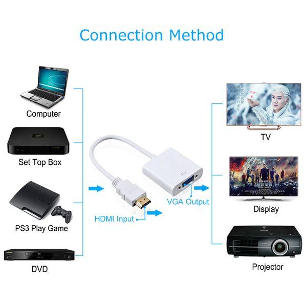 Adaptador de HDMI para VGA Macho Para Famale Converter Adaptador 1080 P Digital para Analógico de Áudio e Vídeo Para PC Portátil Tablet Xbox 360 PS4 PC Varejo links