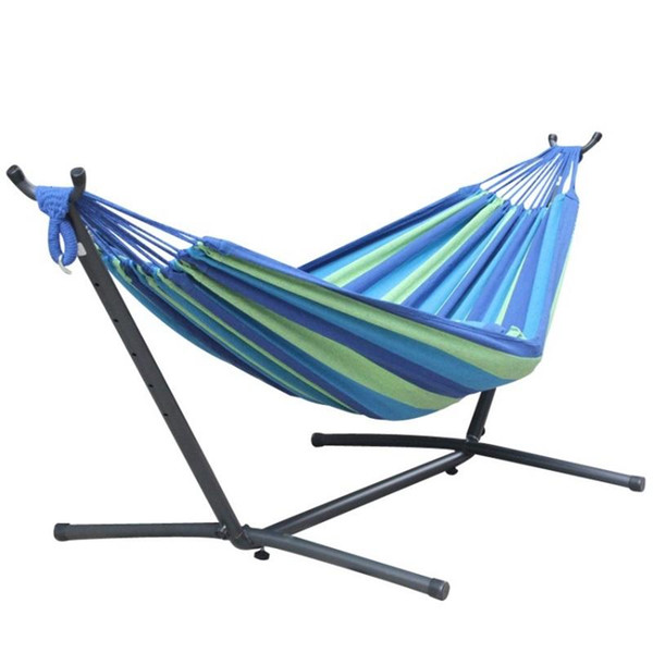 Practical Removable Hammock Double Thicken Iron Stand Hammock For Outdoor Camping Hiking Swing Bed With Carry Bag 150zj BB