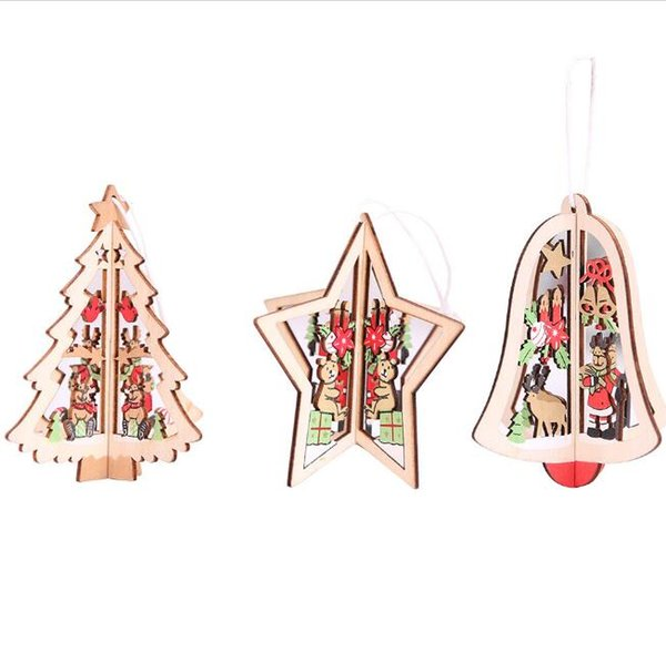 3D wooden crafts Christmas tree pendants stars bell Christmas tree shape Christmas ornaments hanging home party festival supplies