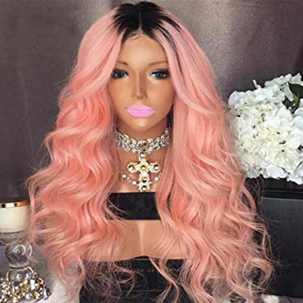 Ombre Color 1B pink Body wave Virgin Human Hair Lace Frontal Wig With Baby Hair Dark Root 1B pink Glueless Full Lace Wig