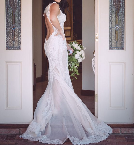 Drop Waist Mermaid Wedding Dress Open Back Sheer V-Neck Sexy Lace Bridal Gown See Through Skirt