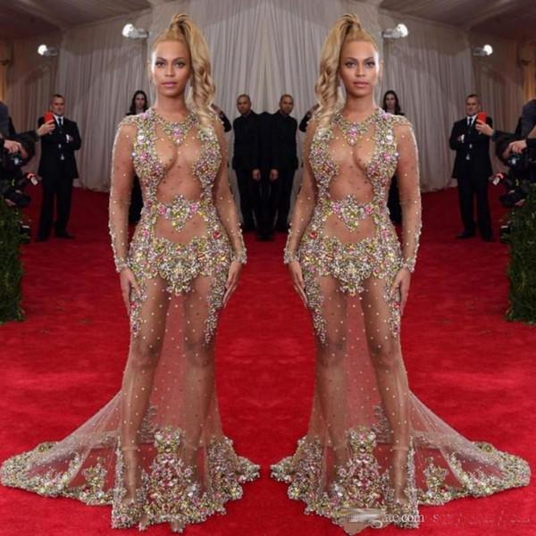 Vestido de noche con cuentas escarpadas 2019 Beyonce Met Ball Vestidos de alfombra roja Desnudo Desnudo Vestido de celebridad Ver a través de ropa formal Barrer tren sin espalda