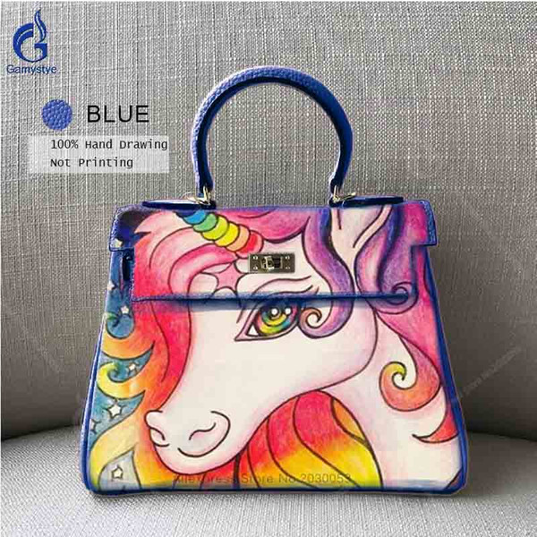 Women Cow Leather Handbag Hand Painted Horse Little Pony Shoulder Bag High Quality Casual Totes DIY Top-Handle Bag Free shipping