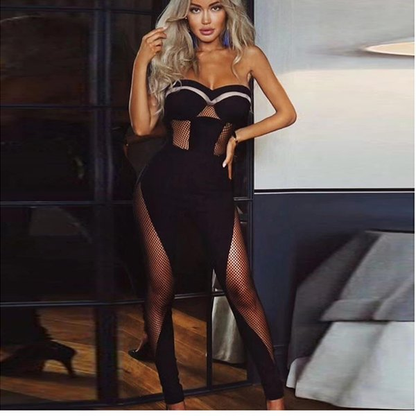 HIGH QUALITY New Fashion 2018 Designer Runway Jumpsuit Women's Strapless Perspective Jumpsuit Rompers