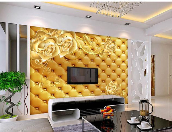 3D leather romantic rose TV background wall 3d murals wallpaper for living room