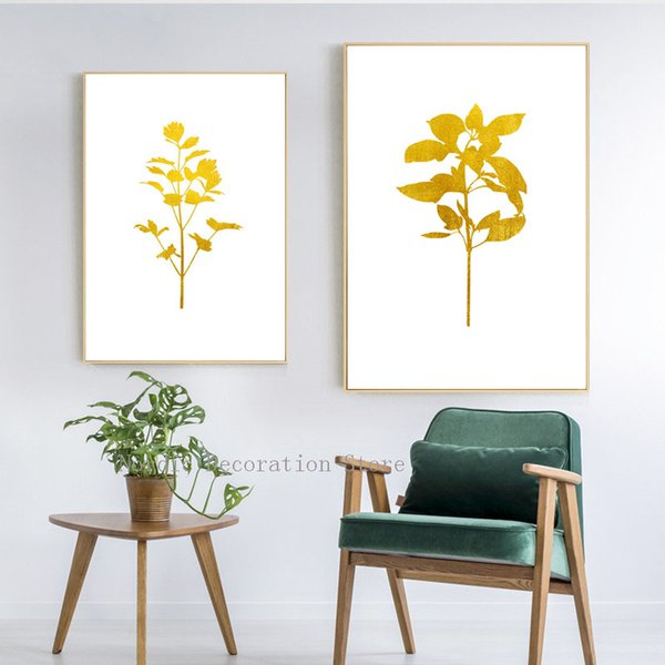 Nordic Gold Plant Leaf Abstract Posters And Prints Wall Art Canvas Painting Two Pieces Wall Pictures For Living Room Unframed