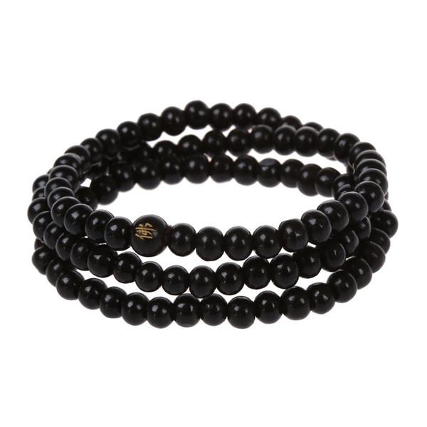108 pcs 6*530mm Black Wood Buddha  Long necklace Buddhism Strand Chain Mala Bracelet Jewelry