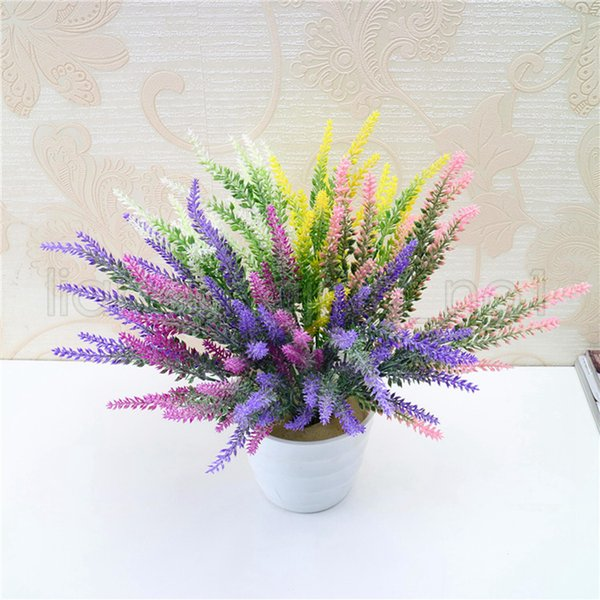 5 Colors Lavender Artificia Decoration Flowers Romantic Provence Fake Silk Flowers Wedding Home Party Favor Simulation Garden Bouquet AAA553