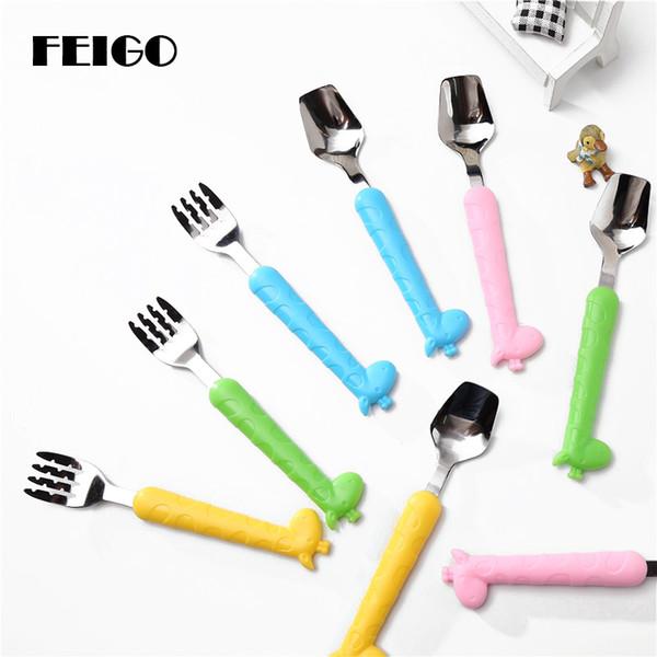 FEIGO 1Pcs Cute Cartoon Spoons Flatware 304 Stainless Steel child Tableware baby Feeding Spoon Fork Creative Kitchen Tool F521