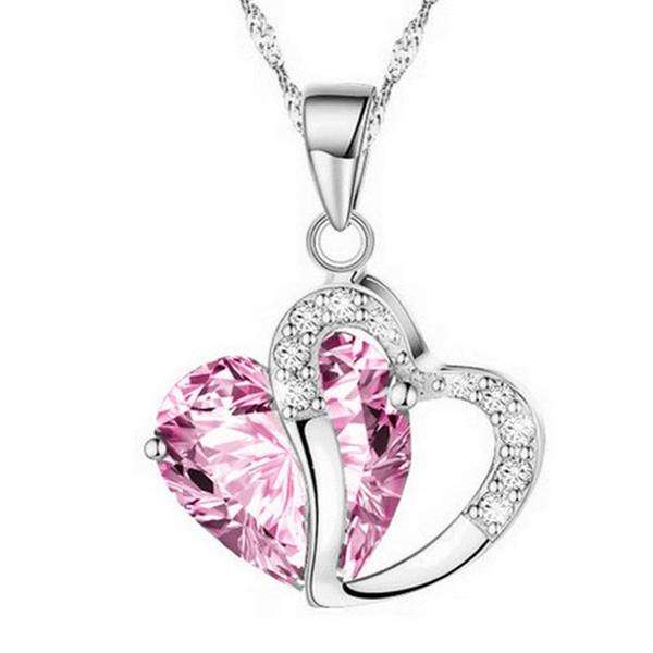 Kadınlar için Lady Kolye Metal Alaşım Kakma Kristal Takı Zinciri Ile Rhinestone Aşk Kalp Şeklinde Kolye En Kaliteli 1 75fm BB