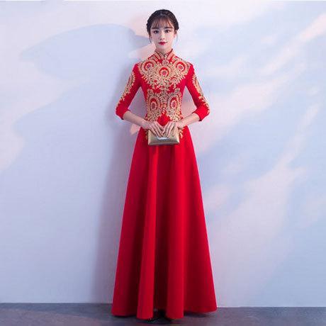 DH358 Fashion Red Embroidery Bride Wedding Long Cheongsam Chinese Traditional Dress Slim Retro Qi Pao Women Antique Dresses Evening Dress