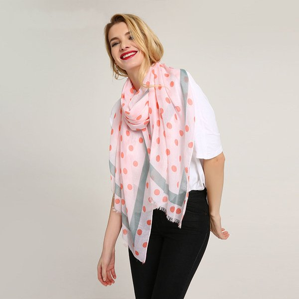 New sheep stick small and fresh printing polka dot pattern cotton and linen women scarf Travel beach sun block Silk scarves