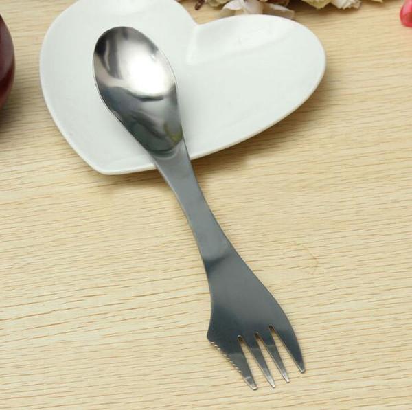 New Fork colher spork 3 em 1 talheres de aço Inoxidável talheres utensílio de combinação Kitchen picnic colher ao ar livre / talha / conjunto de garfo